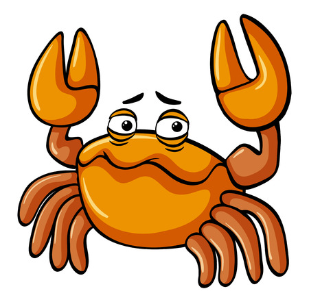 Yellow crab with sad face illustration