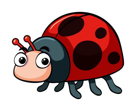 Cute ladybug on white background illustration Illusztráció