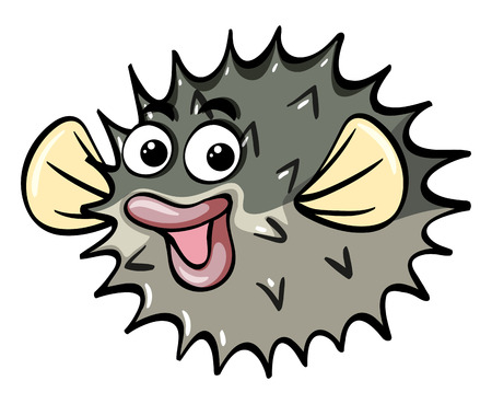 baby facial expressions: Puffer fish with happy face illustration Illustration