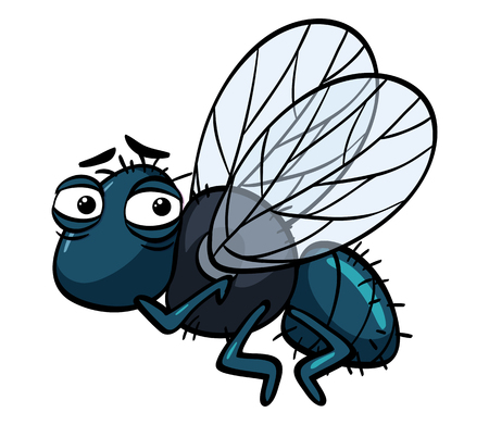 Housefly with sad face illustration