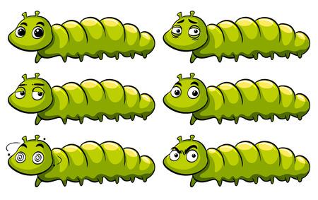 Green caterpillar with different emotions illustration Illusztráció