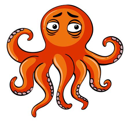 Sad octopus on white background illustration