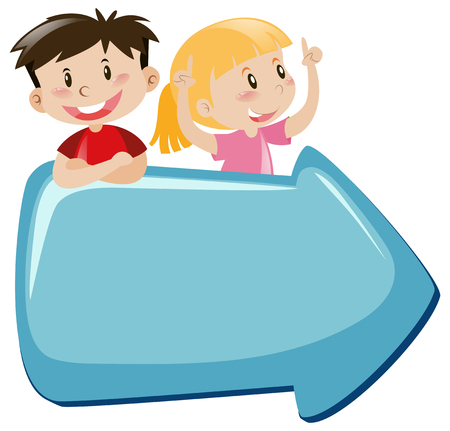 Blue arrow with happy boy and girl illustration