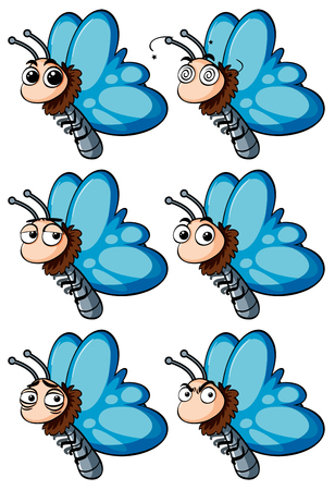 butterfly background: Butterfly with different facial emotions illustration Illustration