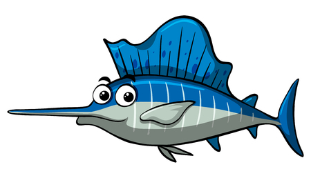 Swordfish with happy face illustration