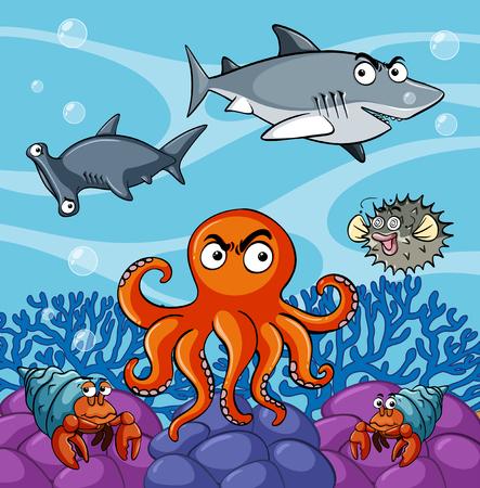 Sea animals living under the ocean illustration