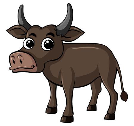 Buffalo with happy face illustration