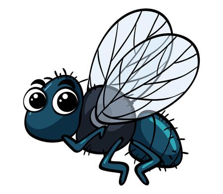 Housefly latanie na białej tło ilustraci