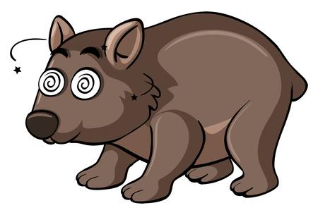 Wombat con la ilustración de la cara de vértigo Vectores