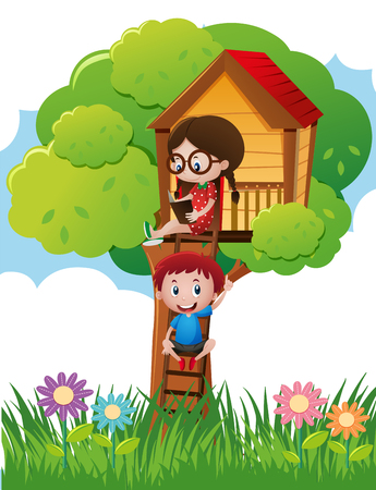 Two kids in reading book in treehouse illustration