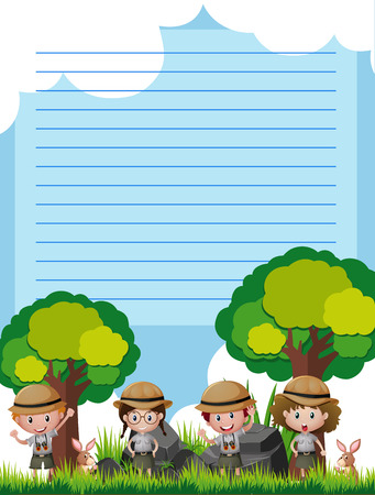 Line paper template with children in safari outfit illustration Ilustração