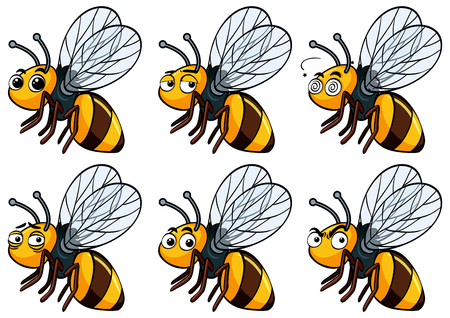 Bee with different facial expressions illustration