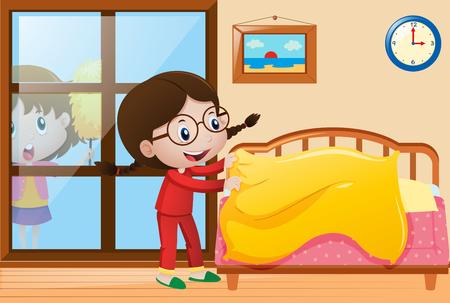 소녀 침대를 만들고 창 그림을 청소