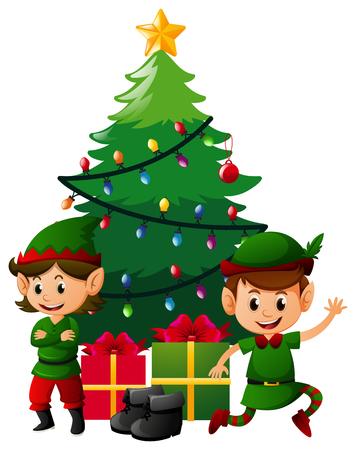 occassion: Two christmas elves under christmas tree illustration Illustration