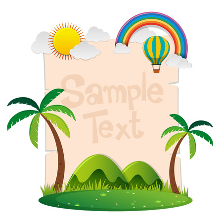 Paper template with park and rainbow illustration Çizim