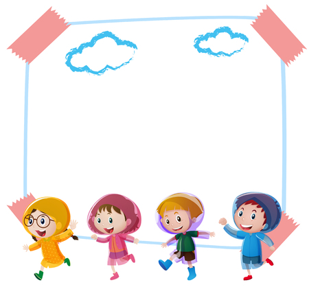 Paper background template with children in raincoats illustration Illustration