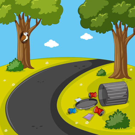 Park scene with trash on the lawn illustration