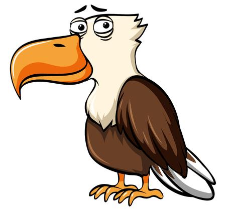 Eagle with sad face illustration