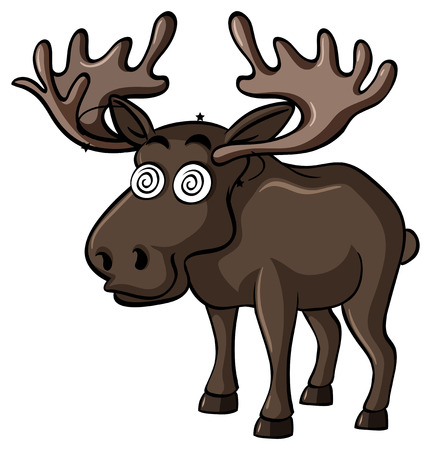Brown moose with dizzy face illustration