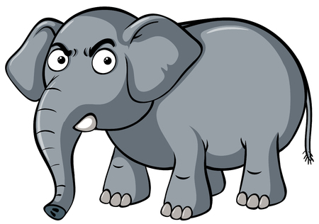 Gray elephant with serious face illustration
