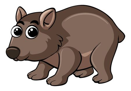 Wombat with happy face illustration
