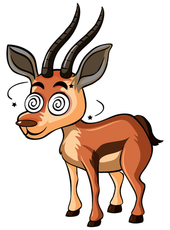 Deer with dizzy face illustration