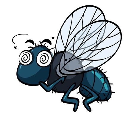 Housefly with dizzy face illustration Illustration