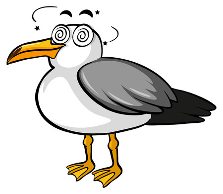 Pigeon with dizzy face illustration Illustration