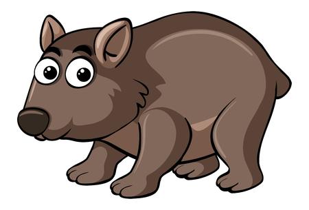 Wombat con la ilustración feliz de la cara Vectores