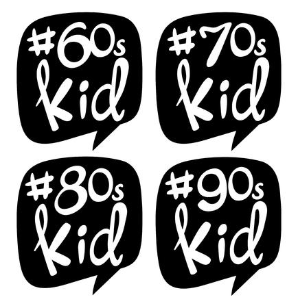 Sticker design for different generation kids illustration Illustration