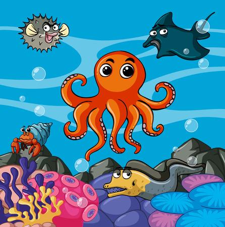 Sea animals living under the sea illustration