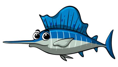 Swordfish with happy face illustration