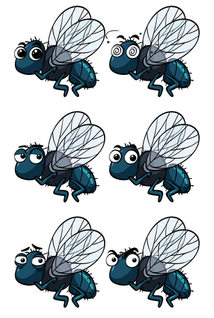 Houseflies with different emotions illustration Иллюстрация
