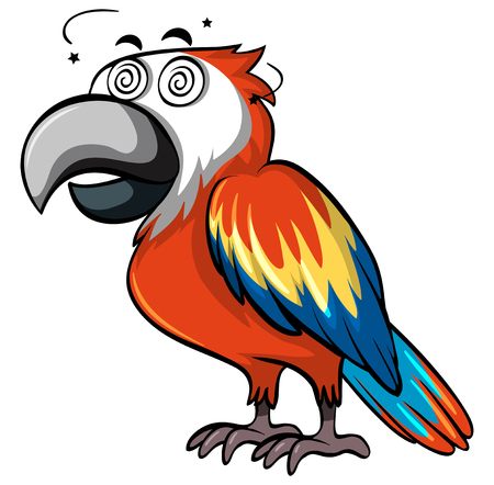 Red parrot with dizzy face illustration
