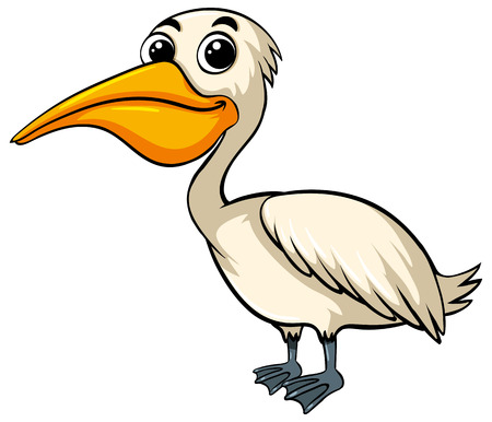 Pelican bird with happy face illustration Banco de Imagens - 82676444
