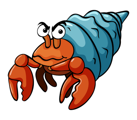 Hermit crab with serious face illustration