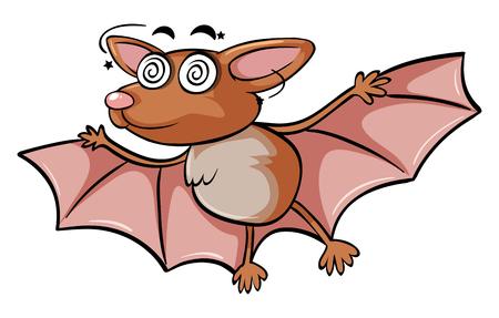 Dizzy bat on white background illustration Illustration