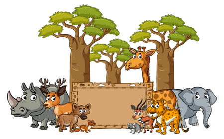 Banner template with wild animals illustration Illustration