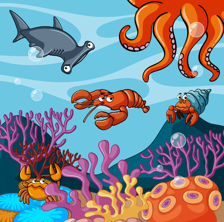 Sea animals under the ocean illustration