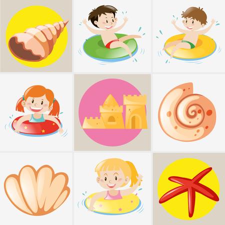 Summer theme with kids and seashells illustration Illustration