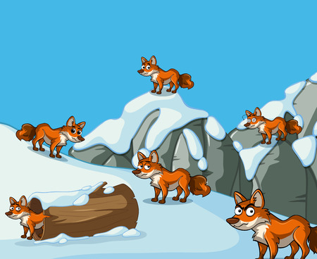 Many foxes on snow mountain illustration Ilustrace