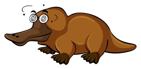Platypus with dizzy face illustration Illustration