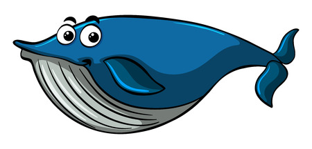 Blue whale with happy smile illustration