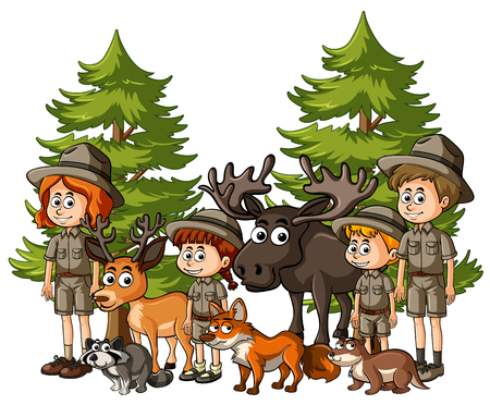 Kids in safari outfit with many animals illustration Illustration