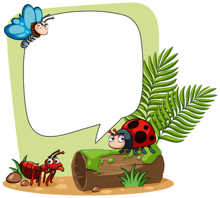 ladybird: Border template with many insects illustration Illustration