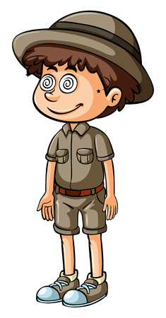 Boy in safari outfit with dizzy eyes illustration