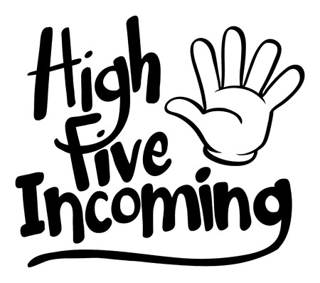 Word expression for high five incoming illustration Иллюстрация