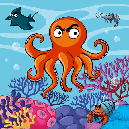 Octopus and other sea animals in the sea illustration Illustration
