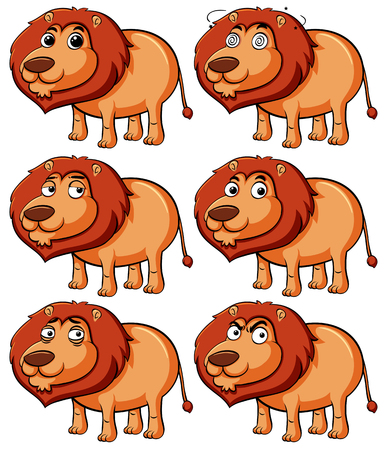 Lion with different expressions illustration Çizim