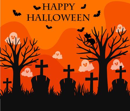 Happy Halloween card with graveyard scene illustration